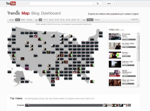 Youtube agrega mapas con las tendencias